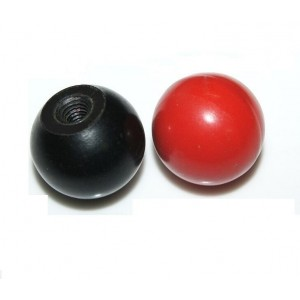 BALL KNOB RED/BLACK BAKELITE WITH MOLDED THREAD
